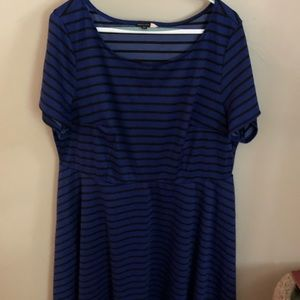 ModCloth Black and Blue Striped Dress Size 2X